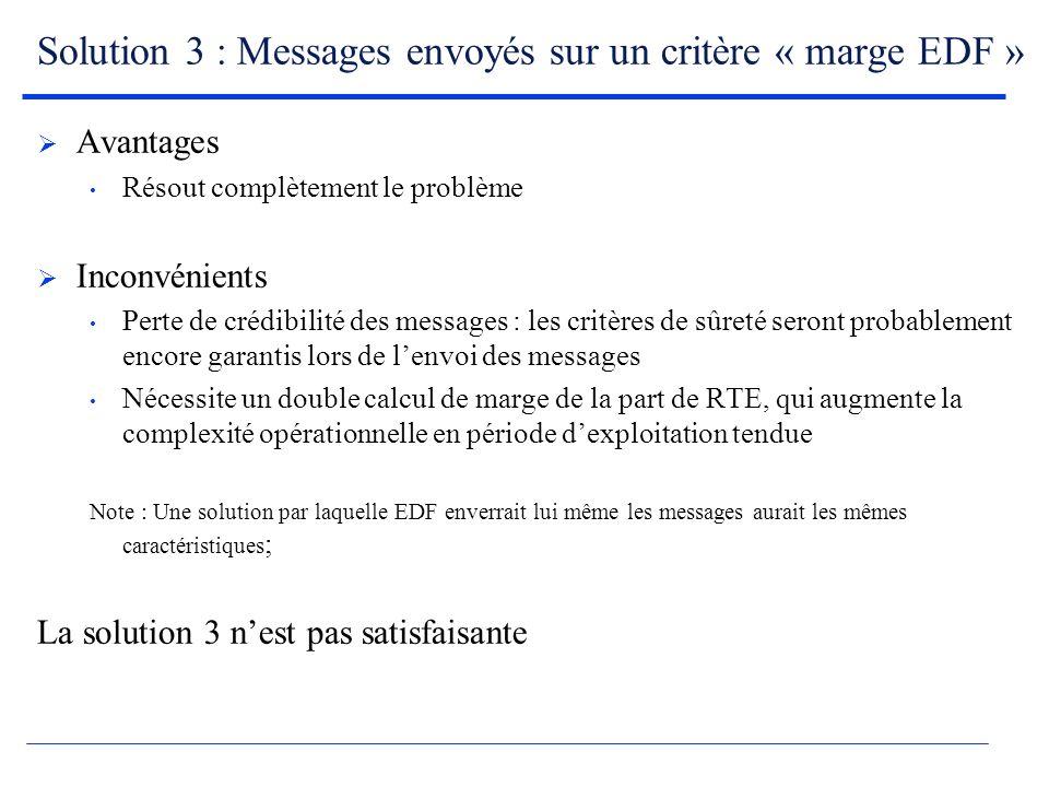 Solution 3 : Messages envoyés sur un critère « marge EDF » Avantages Résout complètement le problème Inconvénients Perte de crédibilité des messages : les critères de sûreté seront probablement encore garantis lors de lenvoi des messages Nécessite un double calcul de marge de la part de RTE, qui augmente la complexité opérationnelle en période dexploitation tendue Note : Une solution par laquelle EDF enverrait lui même les messages aurait les mêmes caractéristiques ; La solution 3 nest pas satisfaisante