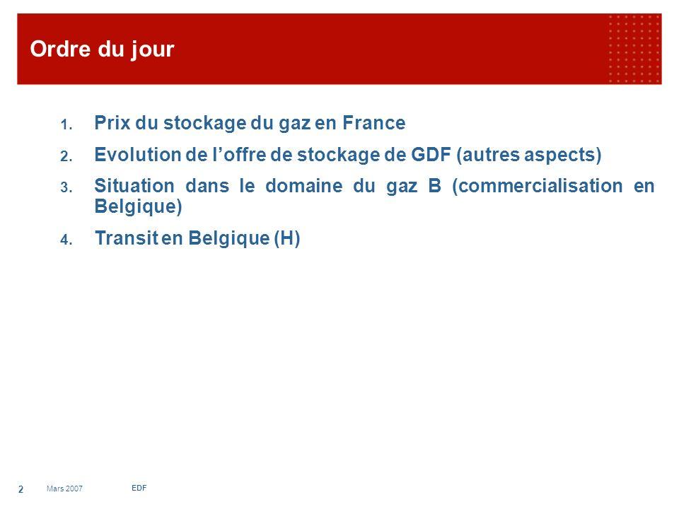 Mars 2007 EDF 3 1.Prix du stockage de gaz en France LA DYNAMIQUE LES FAITS : De fortes hausses successives en 2005, 2006 et 2007 (+15% sur les 2 dernières années).