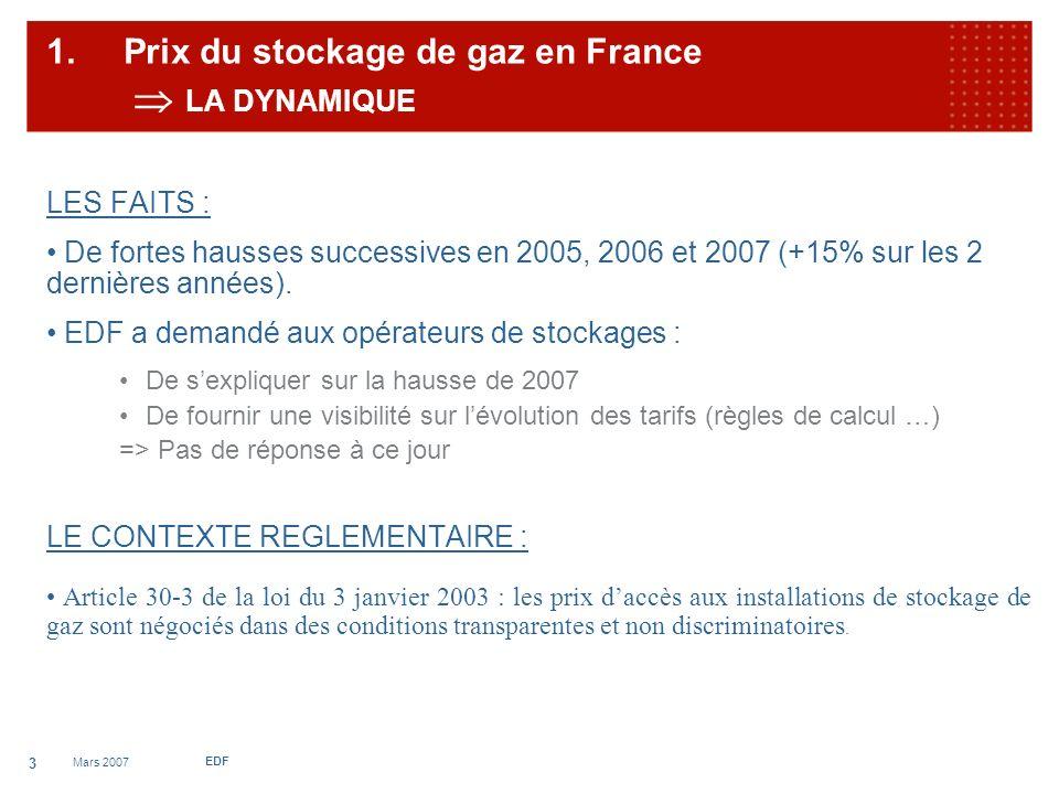 Mars 2007 EDF 4 1.Prix du stockage en France LES NIVEAUX DES NIVEAUX DE TARIFS MANIFESTEMENT AU DESSUS DES COUTS
