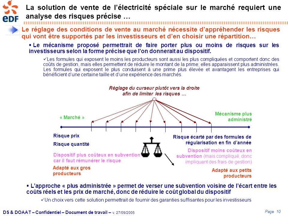 Page 10 DS & DOAAT – Confidentiel – Document de travail – v. 27/09/2005 La solution de vente de lélectricité spéciale sur le marché requiert une analy