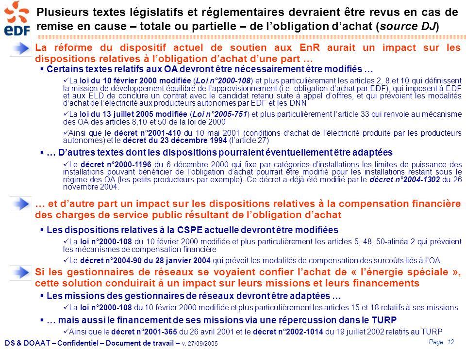 Page 12 DS & DOAAT – Confidentiel – Document de travail – v. 27/09/2005 Plusieurs textes législatifs et réglementaires devraient être revus en cas de