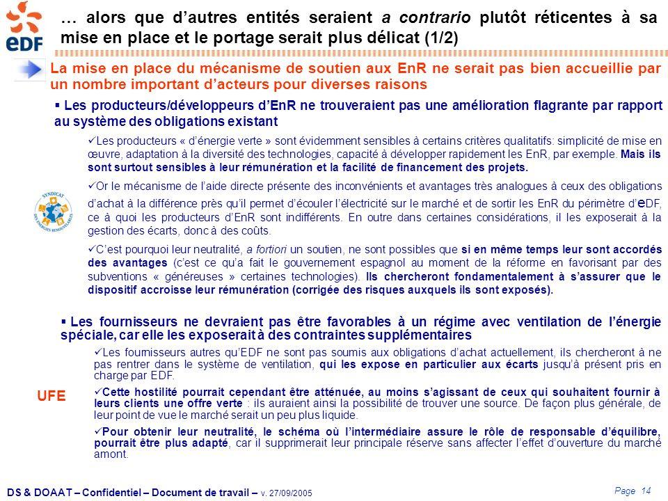 Page 14 DS & DOAAT – Confidentiel – Document de travail – v. 27/09/2005 … alors que dautres entités seraient a contrario plutôt réticentes à sa mise e