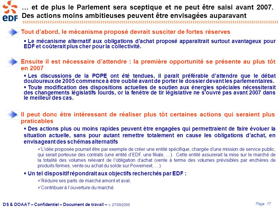 Page 17 DS & DOAAT – Confidentiel – Document de travail – v. 27/09/2005 … et de plus le Parlement sera sceptique et ne peut être saisi avant 2007. Des