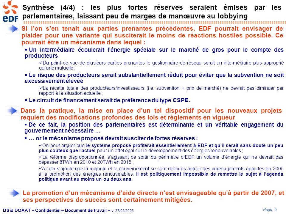 Page 5 DS & DOAAT – Confidentiel – Document de travail – v. 27/09/2005 Synthèse (4/4) : les plus fortes réserves seraient émises par les parlementaire