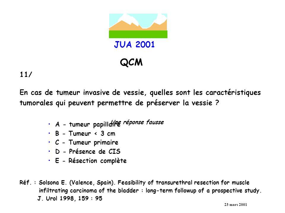 JUA 2001 QCM 23 mars 2001 12/ Les complications précoces de la résection transuréthrale de tumeurs de vessie sont en rapport avec : A - Taille B - Nombre C - Grade D - Siège E - Stade Réf.