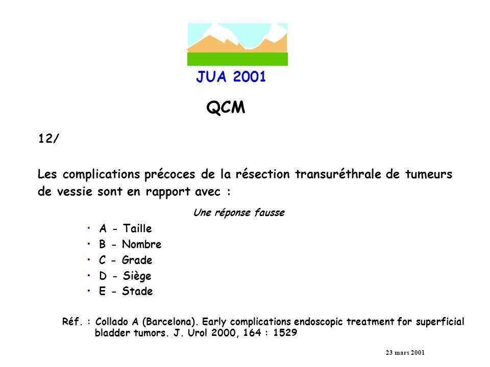 JUA 2001 QCM 23 mars 2001 13/ Quels sont les facteurs de risque de récidive d une tumeur superficielle de vessie .