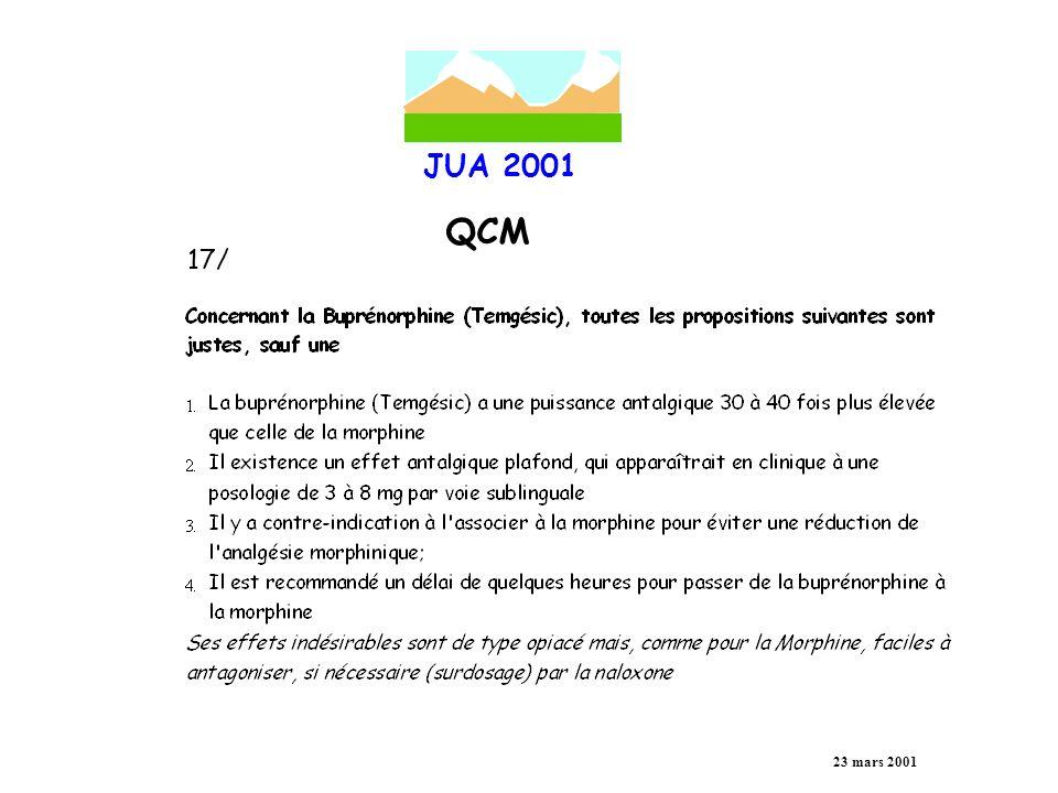 JUA 2001 QCM 23 mars 2001 18/