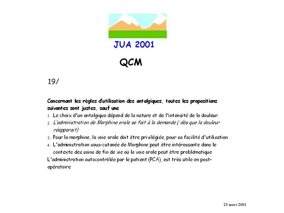 JUA 2001 QCM 23 mars 2001 19/