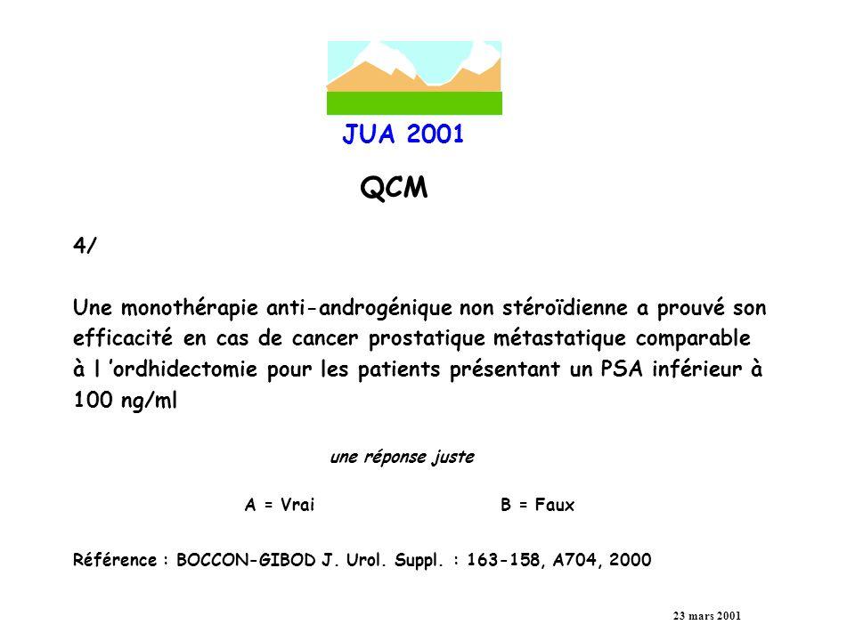 JUA 2001 QCM 23 mars 2001 5/ Pour le cancer métastatique de la prostate, certains ont montré un avantage du BAC en terme de survie globale et spécifique à 60 mois en utilisant un antiandrogène stéroïdien associé à l analogue de la LH-RH : une réponse juste A = OuiB = Non