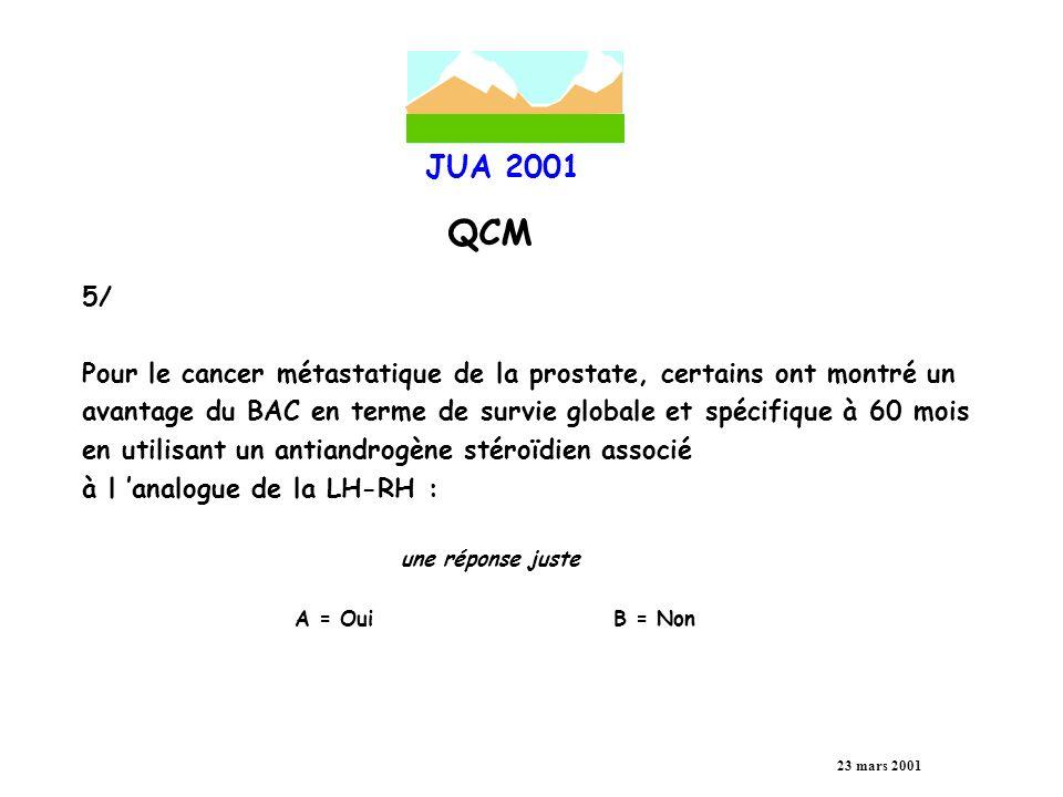 JUA 2001 QCM 23 mars 2001 6/ Le syndrome de retrait des antiandrogènes est spécifique de l acétate de cyprotérone une réponse juste A = OuiB = Non