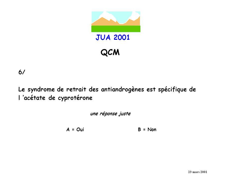 JUA 2001 QCM 23 mars 2001 7/ Après prostatectomie radicale, le consensus international admet l échec thérapeutique lorsque le taux de PSA post-opératoire est une réponse juste A = supérieur ou égal à 0.2 ng/ml B = supérieur ou égal à 0.4 ng/ml C = supérieur ou égal à 0.5 ng/ml D = supérieur ou égal à 0.8 ng/ml