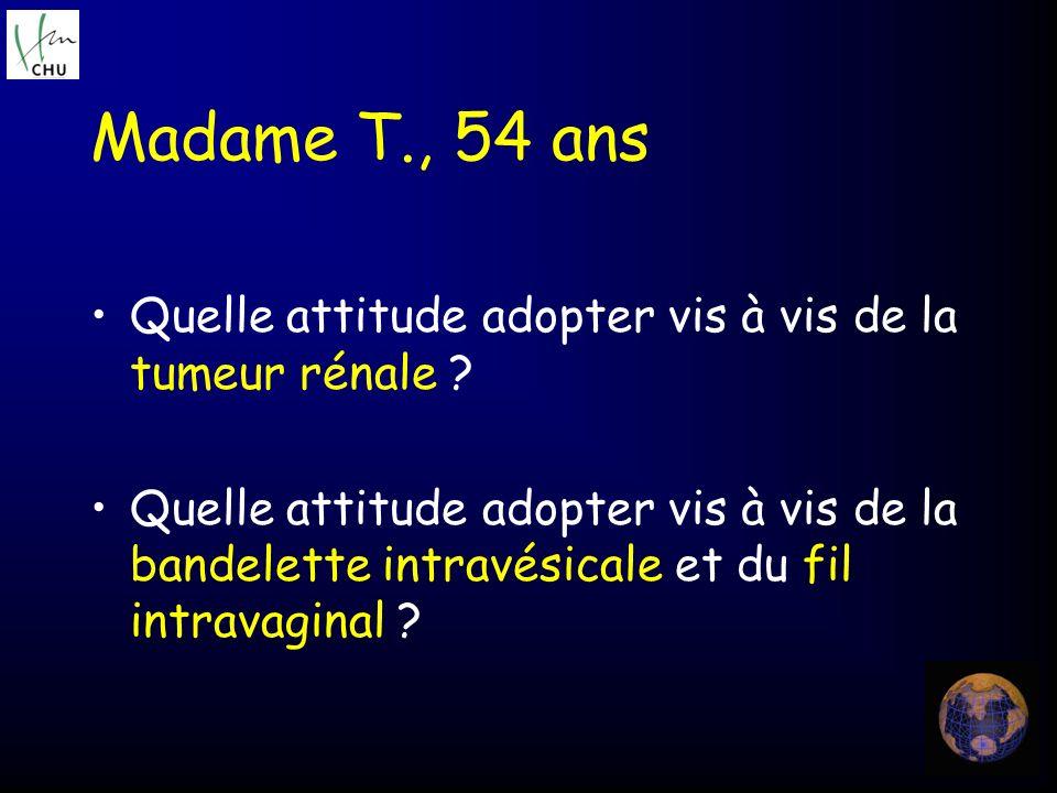 Quelle attitude adopter vis à vis de la tumeur rénale ? Quelle attitude adopter vis à vis de la bandelette intravésicale et du fil intravaginal ? Mada