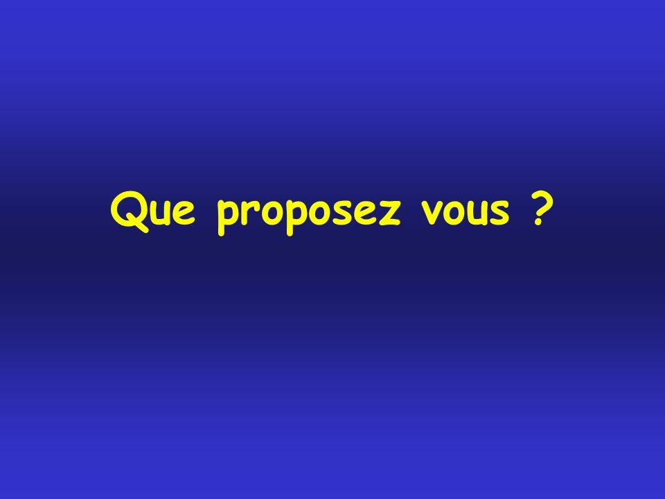 Que proposez vous ?