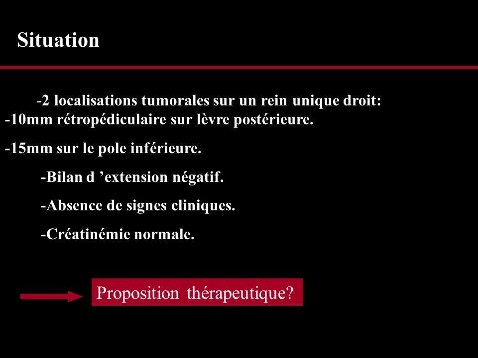 Néphrectomie radicale puis dialyse Tumorectomie de la lésion rétro pédiculaire + Néphrectomie polaire inférieure.
