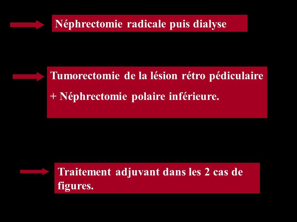 Néphrectomie radicale puis dialyse Tumorectomie de la lésion rétro pédiculaire + Néphrectomie polaire inférieure. Traitement adjuvant dans les 2 cas d
