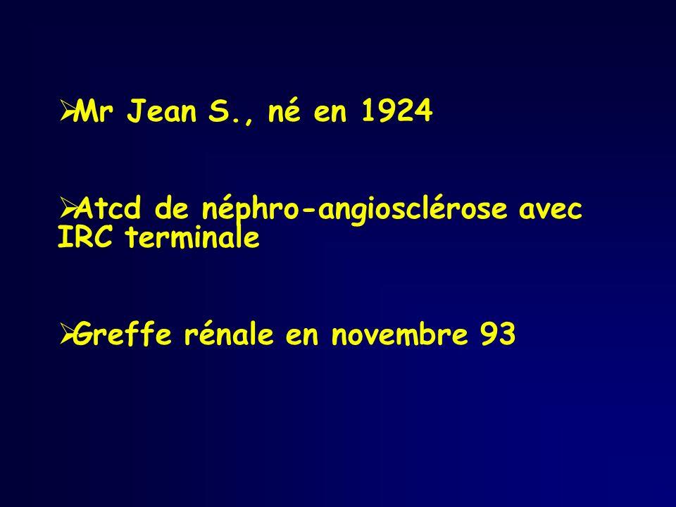 Mr Jean S., né en 1924 Atcd de néphro-angiosclérose avec IRC terminale Greffe rénale en novembre 93