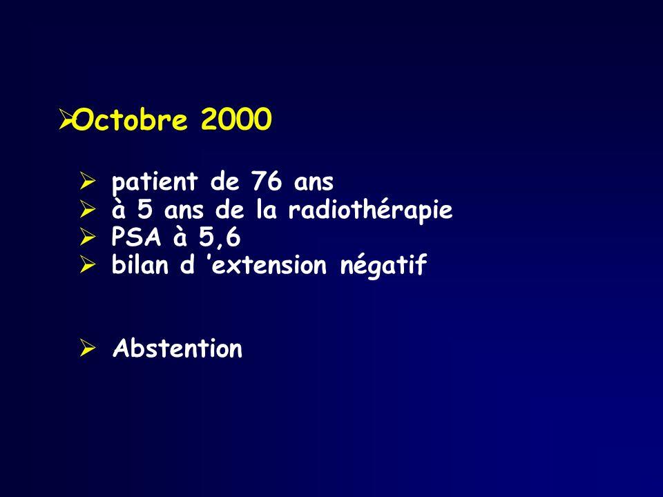 Octobre 2000 patient de 76 ans à 5 ans de la radiothérapie PSA à 5,6 bilan d extension négatif Abstention