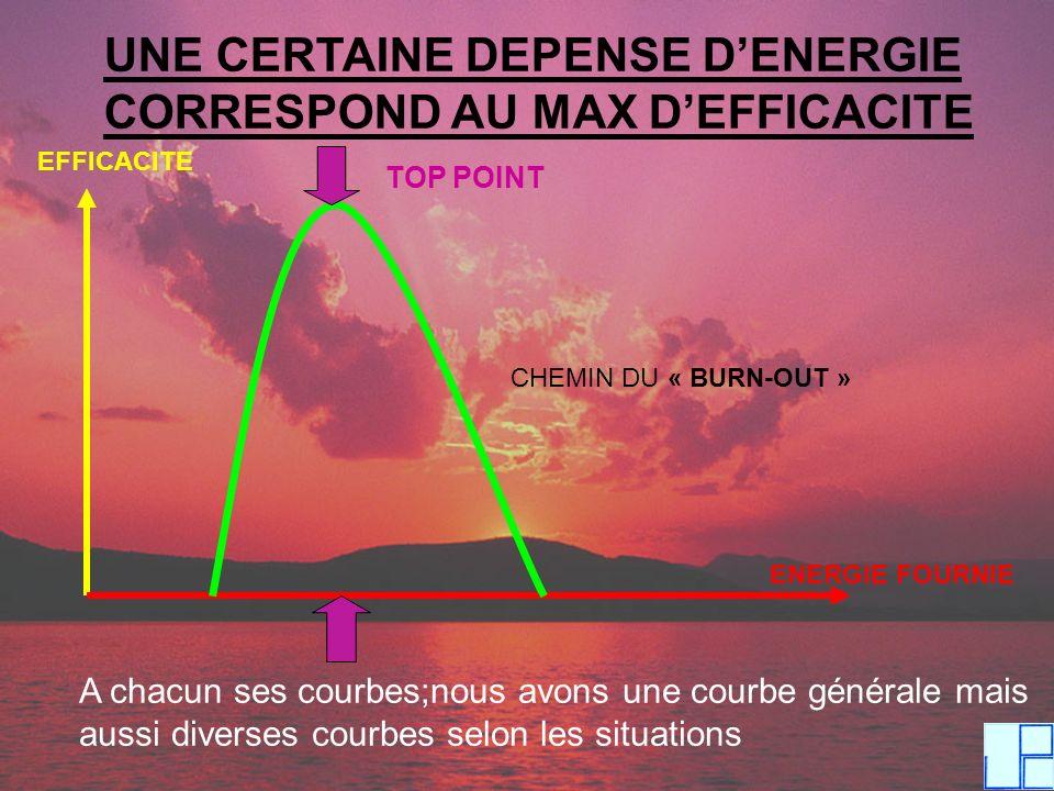 UNE CERTAINE DEPENSE DENERGIE CORRESPOND AU MAX DEFFICACITE EFFICACITE ENERGIE FOURNIE TOP POINT CHEMIN DU « BURN-OUT » A chacun ses courbes;nous avon