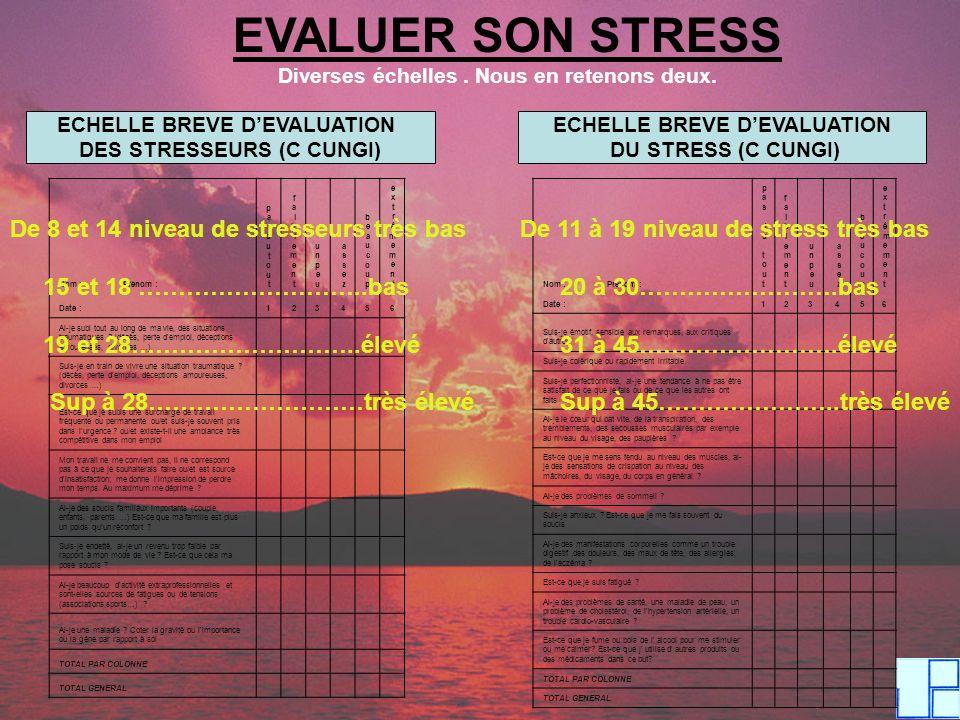 EVALUER SON STRESS Diverses échelles. Nous en retenons deux. ECHELLE BREVE DEVALUATION DES STRESSEURS (C CUNGI) ECHELLE BREVE DEVALUATION DU STRESS (C