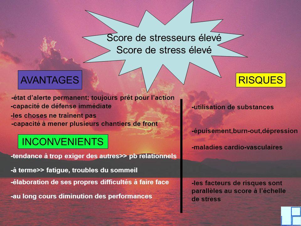 Score de stresseurs élevé Score de stress élevé AVANTAGES -état dalerte permanent; toujours prêt pour laction -capacité de défense immédiate -les chos