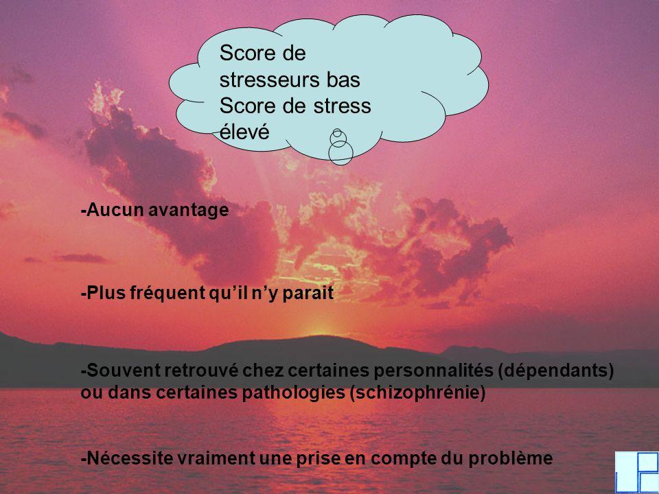 Score de stresseurs bas Score de stress élevé -Aucun avantage -Plus fréquent quil ny parait -Souvent retrouvé chez certaines personnalités (dépendants