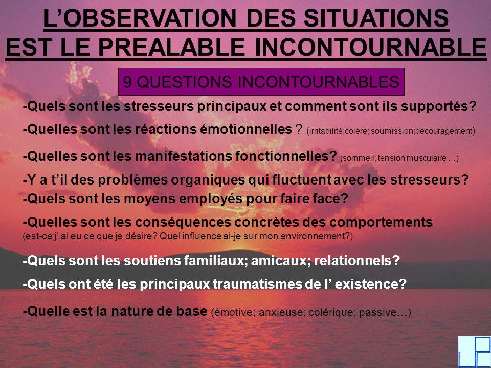 LOBSERVATION DES SITUATIONS EST LE PREALABLE INCONTOURNABLE 9 QUESTIONS INCONTOURNABLES -Quels sont les stresseurs principaux et comment sont ils supp