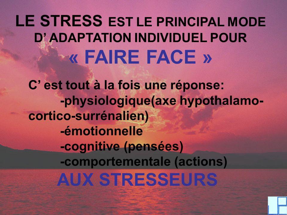 LE STRESS EST LE PRINCIPAL MODE D ADAPTATION INDIVIDUEL POUR « FAIRE FACE » C est tout à la fois une réponse: -physiologique(axe hypothalamo- cortico-