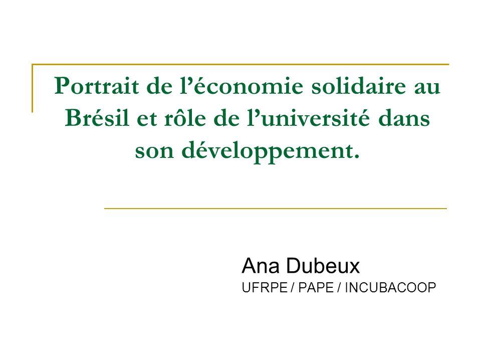 Portrait de léconomie solidaire au Brésil et rôle de luniversité dans son développement.