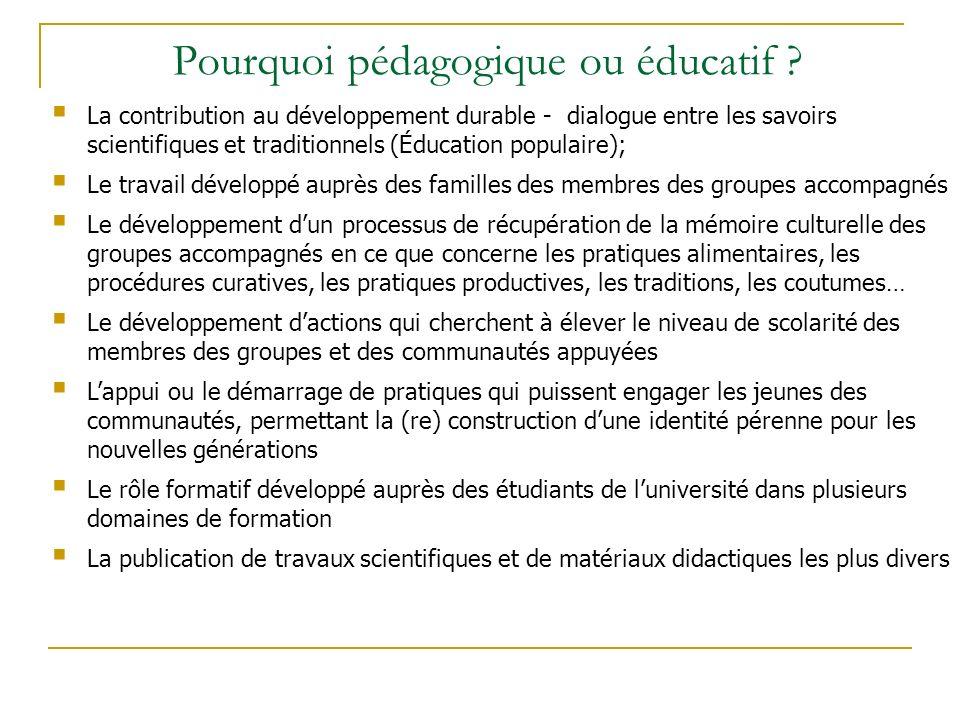 Pourquoi pédagogique ou éducatif .
