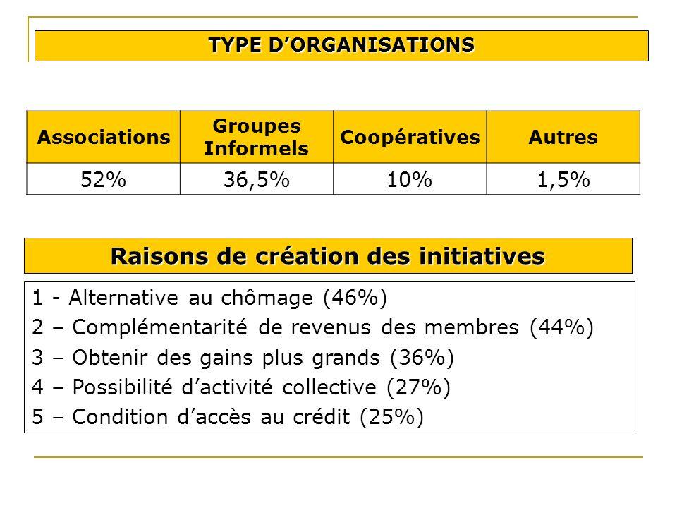 1 - Alternative au chômage (46%) 2 – Complémentarité de revenus des membres (44%) 3 – Obtenir des gains plus grands (36%) 4 – Possibilité dactivité collective (27%) 5 – Condition daccès au crédit (25%) Raisons de création des initiatives TYPE DORGANISATIONS Associations Groupes Informels CoopérativesAutres 52%36,5%10%1,5%