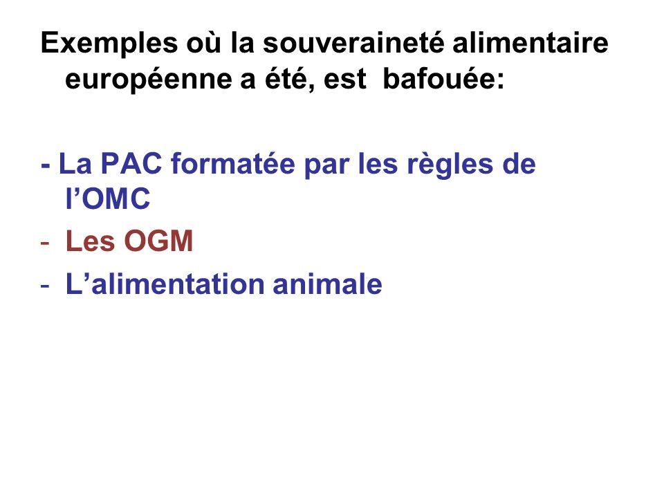 Exemples où la souveraineté alimentaire européenne a été, est bafouée: - La PAC formatée par les règles de lOMC -Les OGM -Lalimentation animale