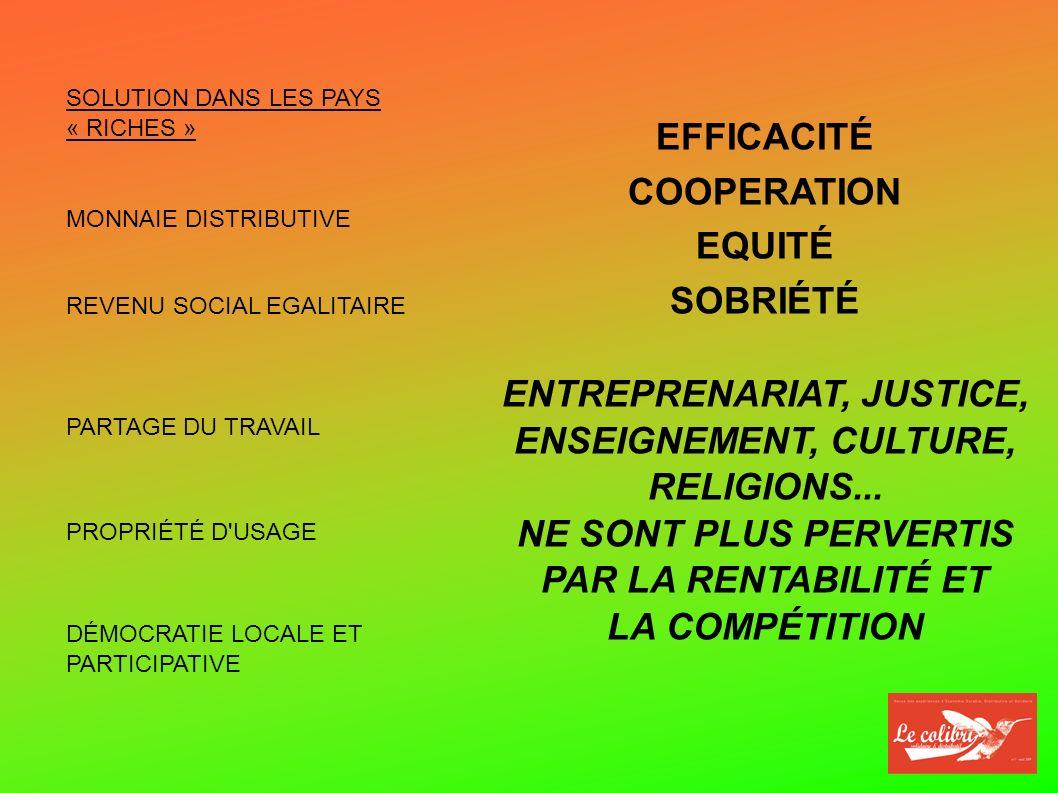 SOLUTION DANS LES PAYS « RICHES » MONNAIE DISTRIBUTIVE REVENU SOCIAL EGALITAIRE PARTAGE DU TRAVAIL DÉMOCRATIE LOCALE ET PARTICIPATIVE EFFICACITÉ COOPERATION EQUITÉ SOBRIÉTÉ ENTREPRENARIAT, JUSTICE, ENSEIGNEMENT, CULTURE, RELIGIONS...