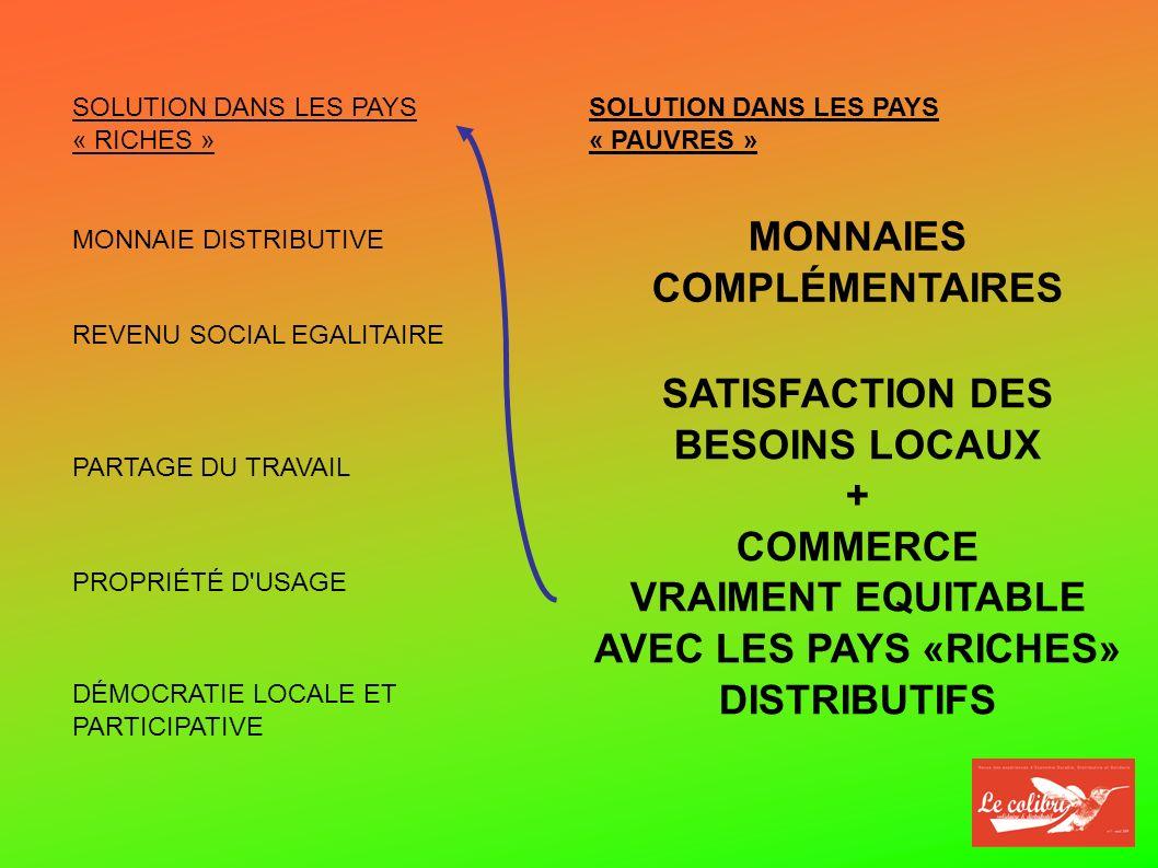 SOLUTION DANS LES PAYS « RICHES » MONNAIE DISTRIBUTIVE REVENU SOCIAL EGALITAIRE PARTAGE DU TRAVAIL DÉMOCRATIE LOCALE ET PARTICIPATIVE SOLUTION DANS LES PAYS « PAUVRES » MONNAIES COMPLÉMENTAIRES SATISFACTION DES BESOINS LOCAUX + COMMERCE VRAIMENT EQUITABLE AVEC LES PAYS «RICHES» DISTRIBUTIFS PROPRIÉTÉ D USAGE