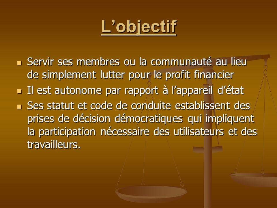 Lobjectif Servir ses membres ou la communauté au lieu de simplement lutter pour le profit financier Servir ses membres ou la communauté au lieu de sim