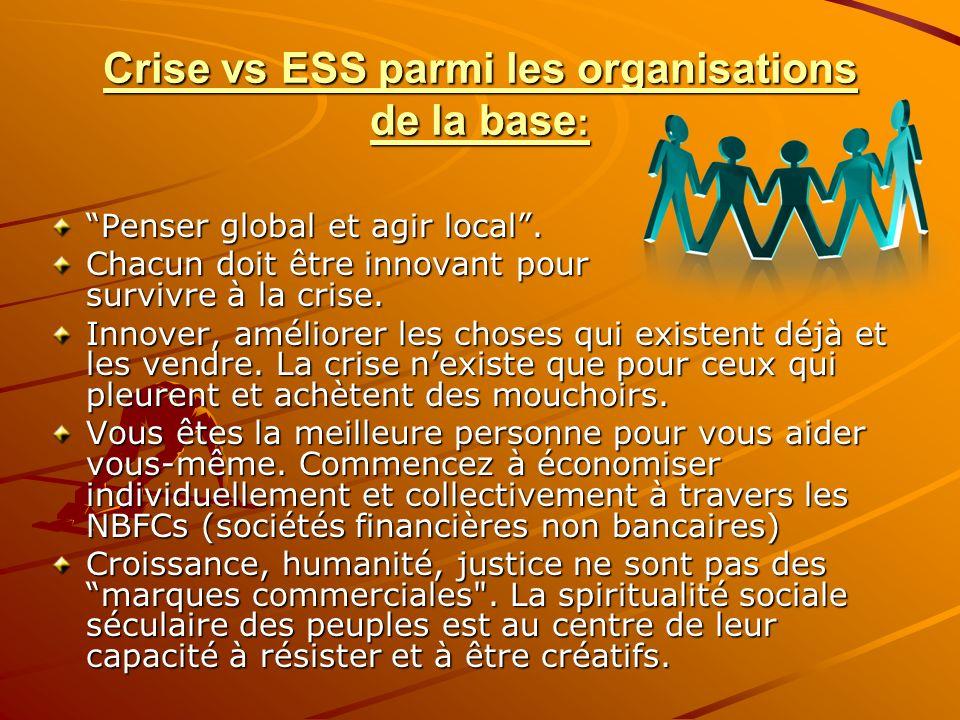 Crise vs ESS parmi les organisations de la base : Penser global et agir local. Chacun doit être innovant pour survivre à la crise. Innover, améliorer
