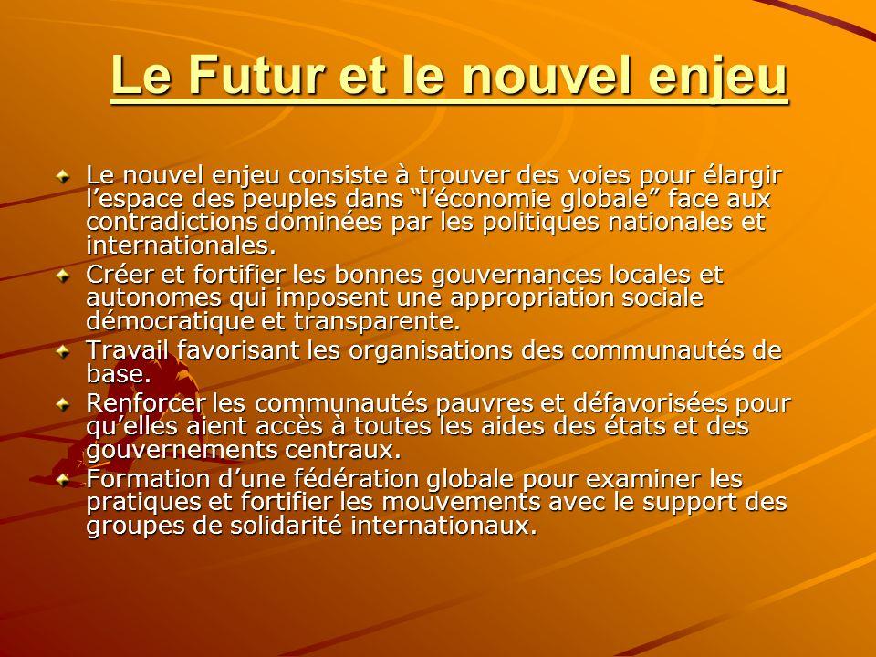 Le Futur et le nouvel enjeu Le nouvel enjeu consiste à trouver des voies pour élargir lespace des peuples dans léconomie globale face aux contradictions dominées par les politiques nationales et internationales.