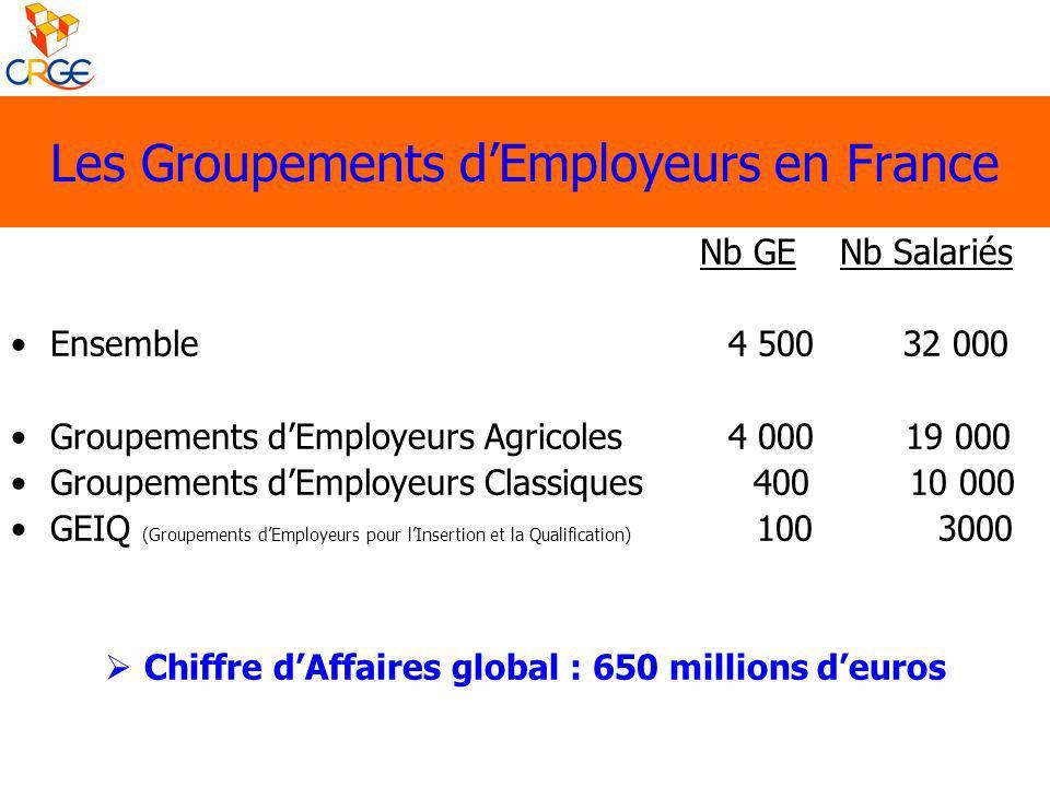 Les Groupements dEmployeurs en France Nb GE Nb Salariés Ensemble 4 500 32 000 Groupements dEmployeurs Agricoles 4 000 19 000 Groupements dEmployeurs C