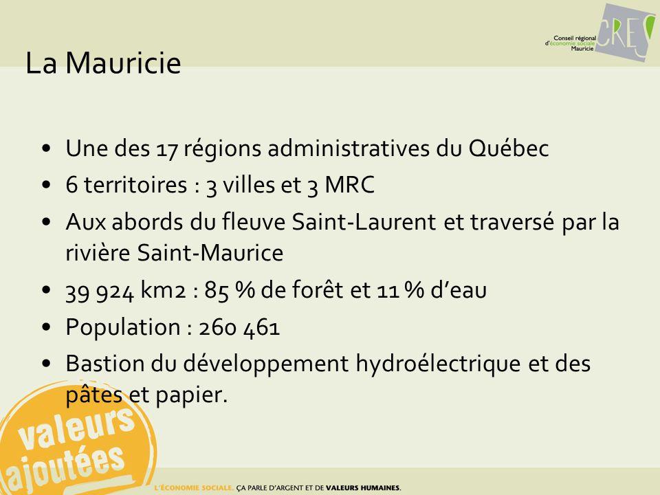 La Mauricie Une des 17 régions administratives du Québec 6 territoires : 3 villes et 3 MRC Aux abords du fleuve Saint-Laurent et traversé par la riviè