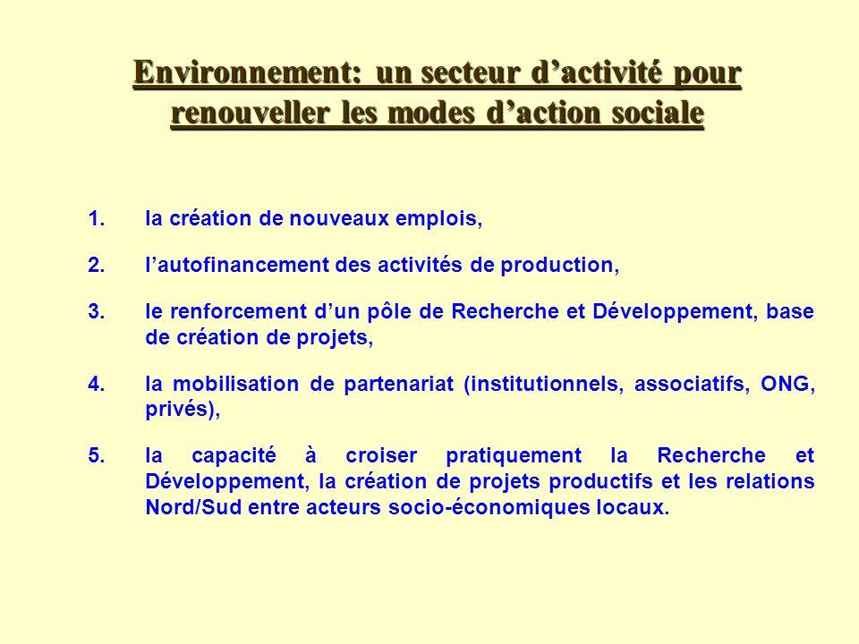 Environnement: un secteur dactivité pour renouveller les modes daction sociale 1.la création de nouveaux emplois, 2.lautofinancement des activités de production, 3.le renforcement dun pôle de Recherche et Développement, base de création de projets, 4.la mobilisation de partenariat (institutionnels, associatifs, ONG, privés), 5.la capacité à croiser pratiquement la Recherche et Développement, la création de projets productifs et les relations Nord/Sud entre acteurs socio-économiques locaux.