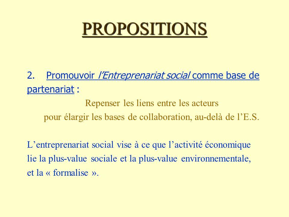 PROPOSITIONS 2.Promouvoir lEntreprenariat social comme base de partenariat : Repenser les liens entre les acteurs pour élargir les bases de collaboration, au-delà de lE.S.