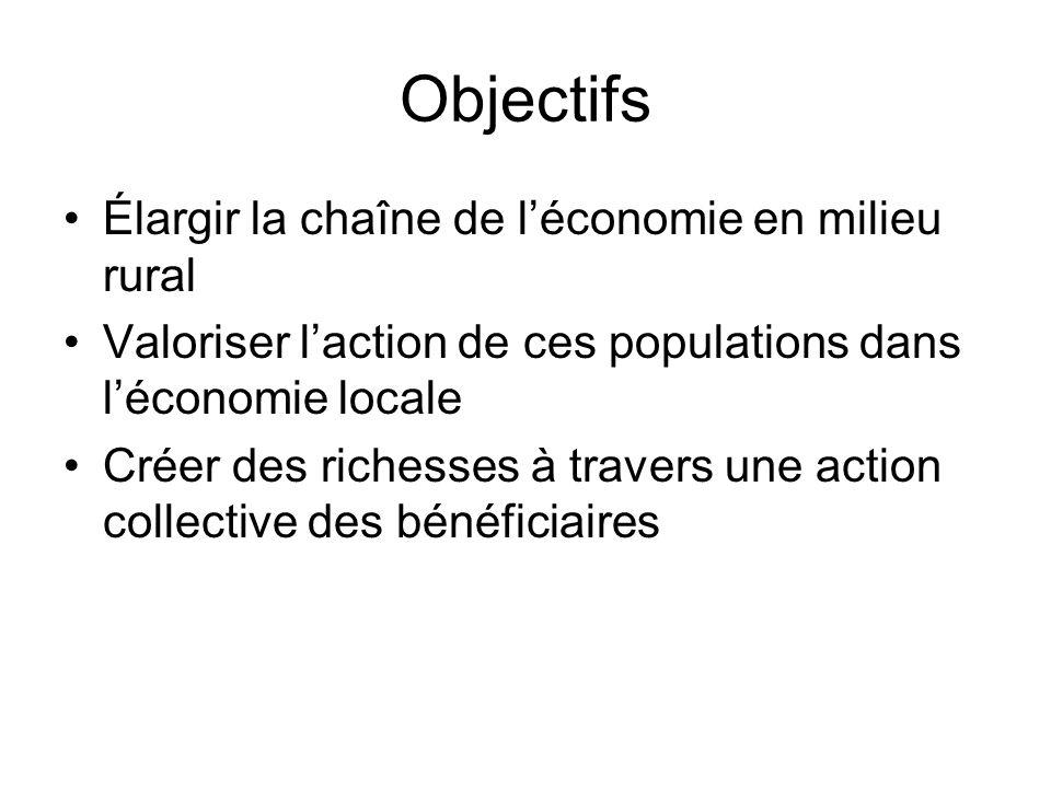 Objectifs Élargir la chaîne de léconomie en milieu rural Valoriser laction de ces populations dans léconomie locale Créer des richesses à travers une action collective des bénéficiaires