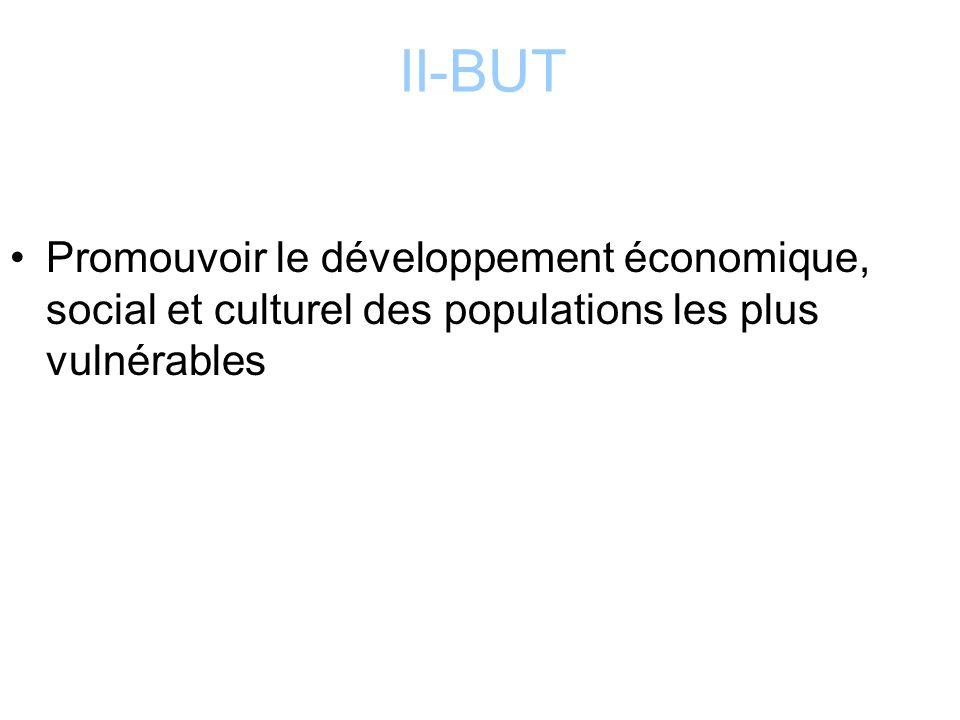 II-BUT Promouvoir le développement économique, social et culturel des populations les plus vulnérables
