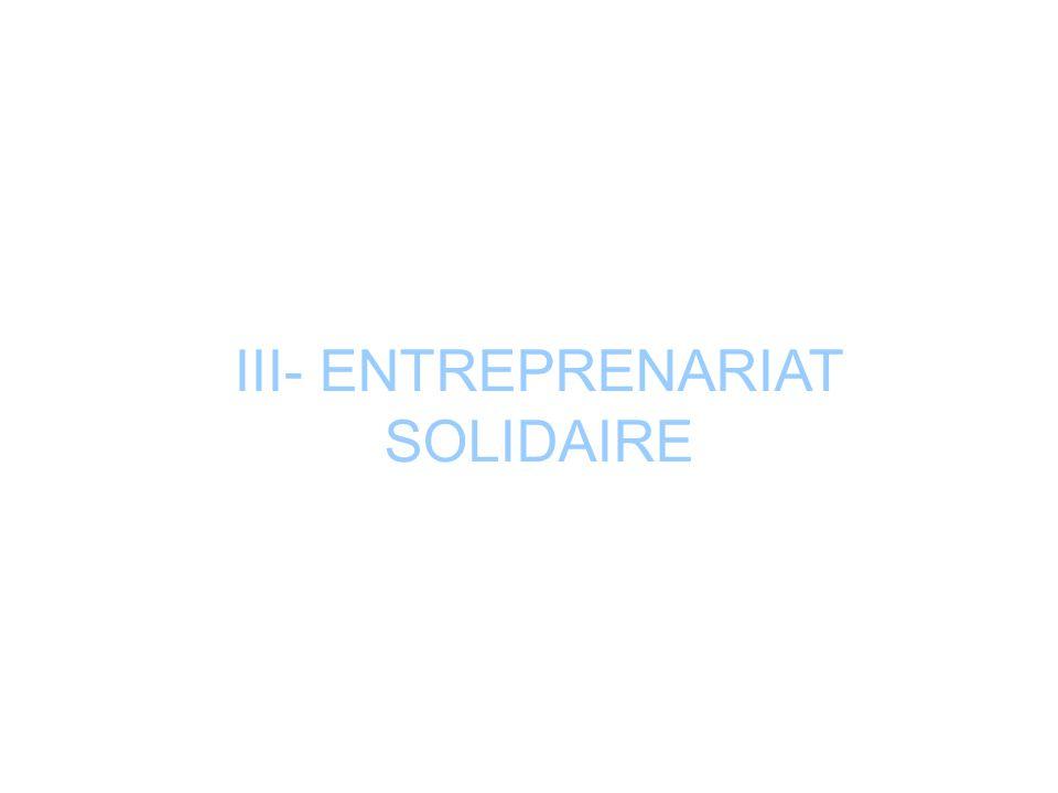 III- ENTREPRENARIAT SOLIDAIRE