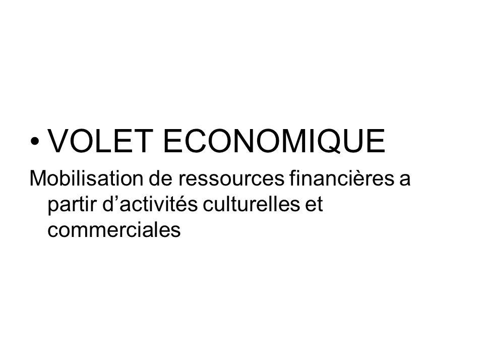 VOLET ECONOMIQUE Mobilisation de ressources financières a partir dactivités culturelles et commerciales
