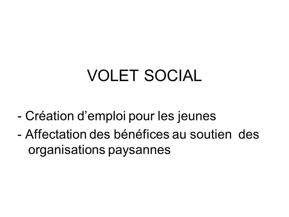 VOLET SOCIAL - Création demploi pour les jeunes - Affectation des bénéfices au soutien des organisations paysannes