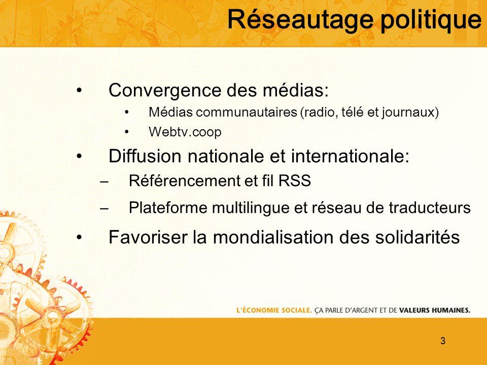3 Convergence des médias: Médias communautaires (radio, télé et journaux) Webtv.coop Diffusion nationale et internationale: –Référencement et fil RSS –Plateforme multilingue et réseau de traducteurs Favoriser la mondialisation des solidarités Réseautage politique