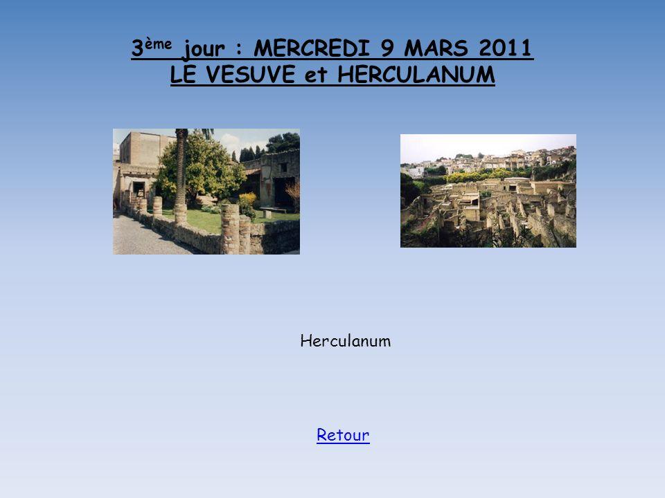 3 ème jour : MERCREDI 9 MARS 2011 LE VESUVE et HERCULANUM Herculanum Retour