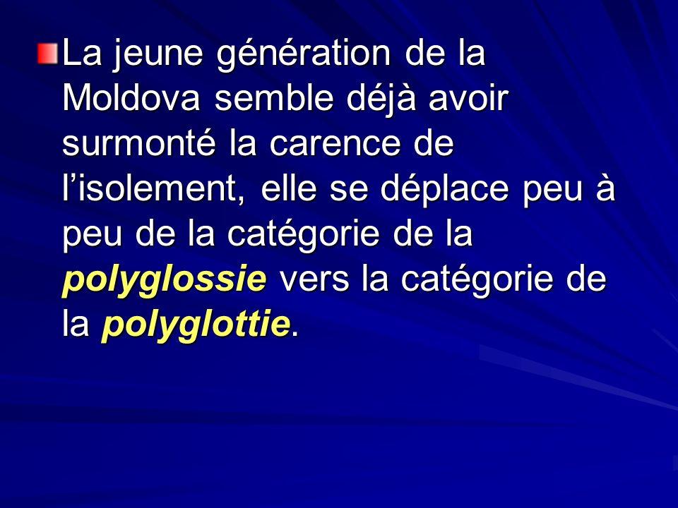 La jeune génération de la Moldova semble déjà avoir surmonté la carence de lisolement, elle se déplace peu à peu de la catégorie de la polyglossie ver