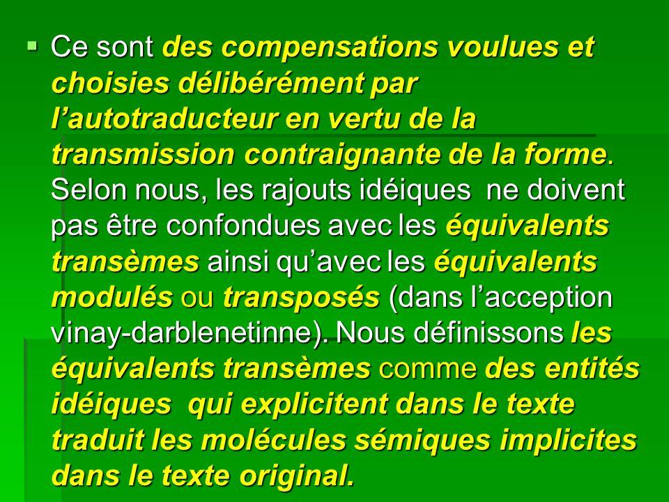 Ce sont des compensations voulues et choisies délibérément par lautotraducteur en vertu de la transmission contraignante de la forme.