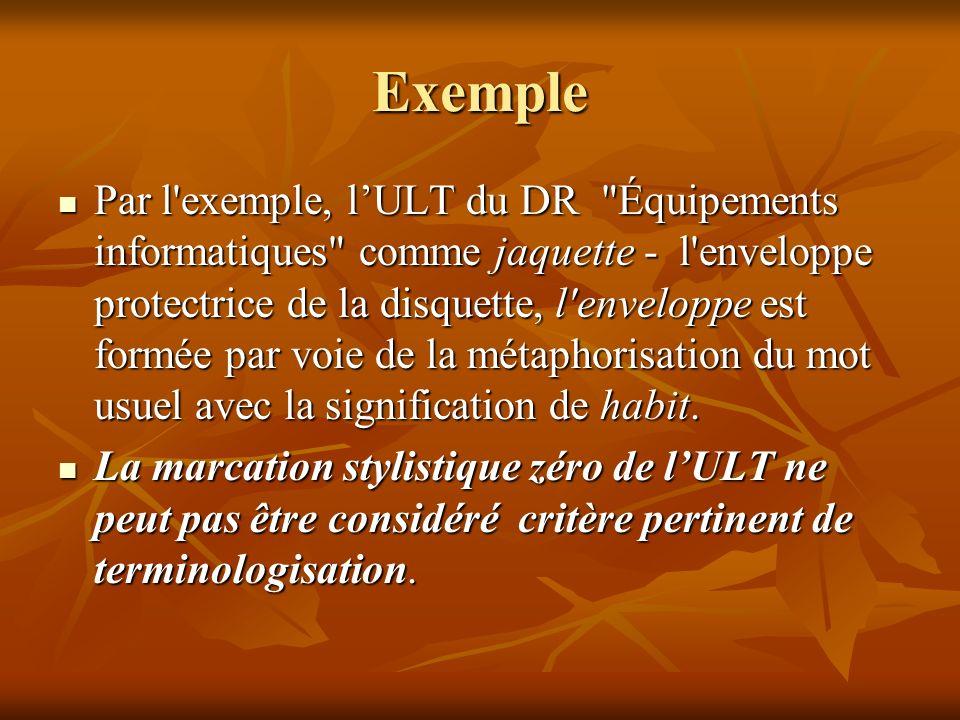 Exemple Par l exemple, lULT du DR Équipements informatiques comme jaquette - l enveloppe protectrice de la disquette, l enveloppe est formée par voie de la métaphorisation du mot usuel avec la signification de habit.